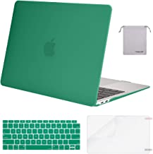 MOSISO MacBook Air 13 inch Case 2019 2018 Release A1932 with Retina Display, Plastic Hard Shell & Keyboard Cover & Screen Protector & Storage Bag Compatible with MacBook Air 13, Light Teal