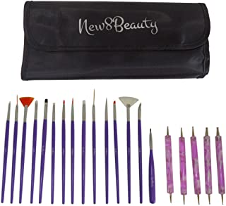 Nail Art Brushes, Dotting Pens Marbling Detailing Painting Striping Tools 20pc Kit Set with Roll-Up Pouch - Best for nail ...
