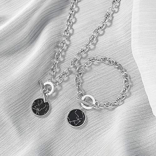 Collar Joyas Collares De Cadena De Cuello Informal Minimalista para Mujer, Colgantes Redondos De Mármol, Collar De Joyería De Moda Femenina De Hip Hop