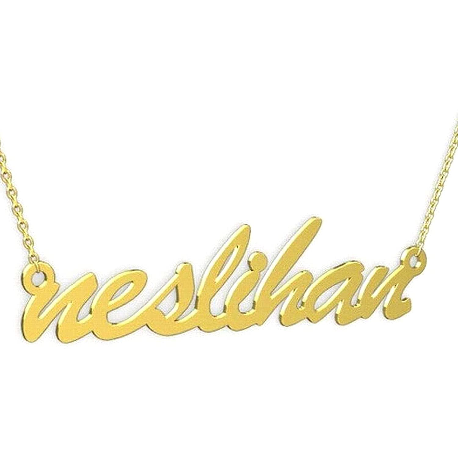 store 14k Gold Personalized Name Necklace Handwriting New Orleans Mall Cu Font Cursive