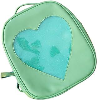 Wultia - Candy Color PU Leather Ita Bag DIY Transparent Love Heart Shape Backpack Kawaii Harajuku Schoolbags for Teenage Girls Green