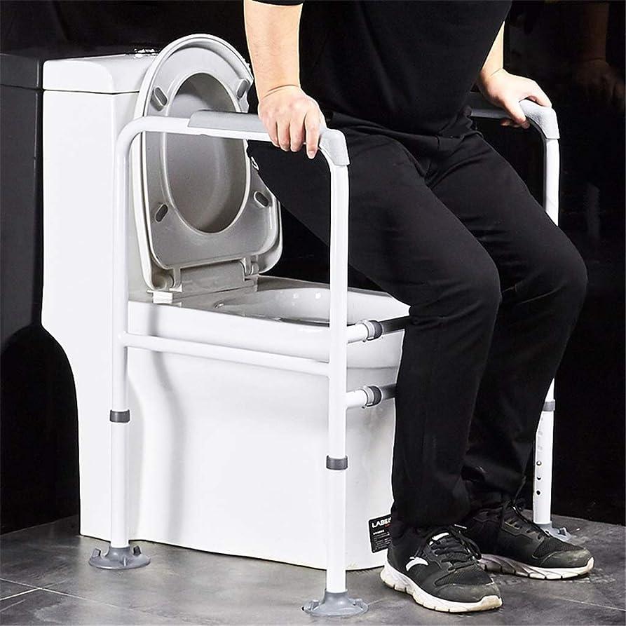 怖いカストディアン抜け目がない調節可能なトイレ用手すり棚ほとんどのトイレ席バスルームスタンディングフレームアシスト手すりグラブバーアンチロールオーバー高齢者用セーフティレール、ハンディキャップ、無効、高齢者