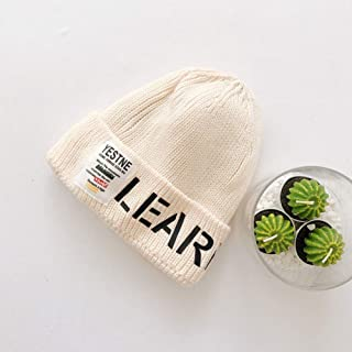 COODIO Autumn Winter Children Woolen Cap Letters Decoration Cap Knitted Hat for Boys and Girls for Fashion Jewelry