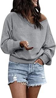 Women's Cold Shoulder V Neck Pullover Casual Loose Fitting Long Sleeve Sexy Autumn Sweatshirt