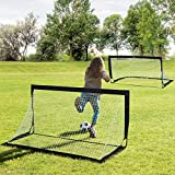 HOMCOM Set of 2 Football Goal Net 6 x 3 ft Foldable Outdoor Sport Training Teens Adults Soccer with Carrying Bag Black