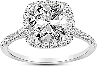 1.47 Carat GIA Certified 14K White Gold Halo Cushion Cut Diamond Engagement Ring (0.72 Ct E Color VVS2 Clarity Center)