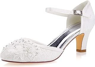 Emily Bridal Wedding Shoes Women's Lace Satin Stiletto Heel Pumps Sandals