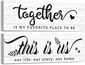 Kas Home Farmhouse Wall Decor - 2 Pieces This Is Us & Together Rustic Canvas Wall Art Family Gifts for Home Inspirational Print Bedroom Decor Plaque Hanging Decorations for Living Room Kitchen (5.5 x 16.5 inch, White - 2 Pieces)