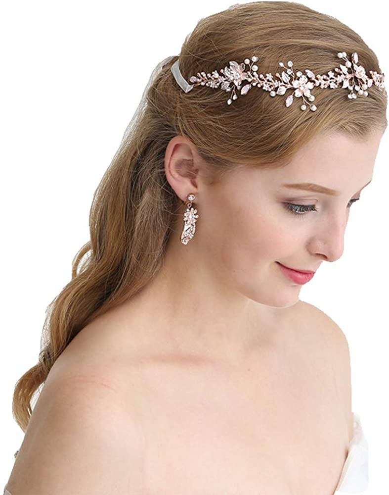 Wedding tiara Bridal set Bridal headpiece Criystal Wedding earrings hair tiara Ivory headpiece earring pearl Rhinestone bridal headpiece