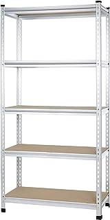 AmazonBasics - Estantería de rejilla de cartón prensado de doble poste con varios estantes de resistencia mediana - 91 ...