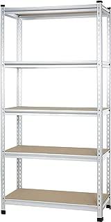 AmazonBasics Medium Duty Storage Shelving Double Post Press Board Shelf, 36 x 18 x 72 Inch, Aluminum