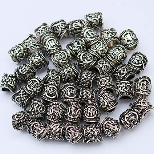 Minidar Barbe Rune vichinghe Fai-da-Te per i Capelli, trecce, ciondoli e bracciali e Anello Set (24) Oro e Argento Colore Opzionale,Silver