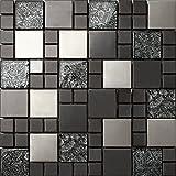 Carrelage mosaïque en verre et acier inoxydable. Noir, Argent. Les feuilles entières de carreaux mesurent 30cm x 30cm (MT0002)