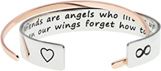 Soul Sisters Bracelet Friends are Angels Who Lift Us Up/True Friendship Isn't About Being Inseparable Bracelets Set of 2