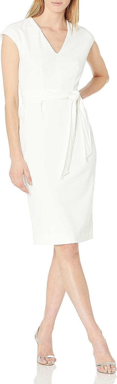 Maggy London Women's Cap Sleeve V-Neck Tie Wiast Midi Dress