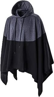 Haseil Men's Casual Pullover Hoodies Bat Sleeves Hooded Cloak Phocho Cape Coat