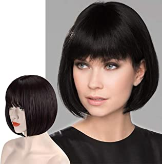 Sofeiyan Short Straight Dark Brown Bob Wigs with Bangs 11 inch Synthetic Daily Party Cosplay Hair Wig for White Black Women, Darkest Brown and Dark Auburn Mixed