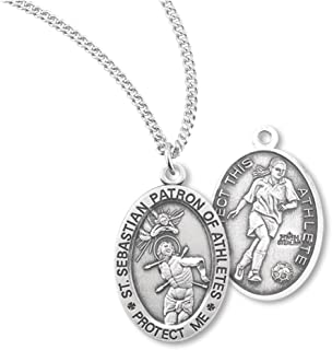 + BERTOF Women's SOCCER SAINT SEBASTIAN 100% STERLING SILVER Patron Saint of Athletes Medal With Copyrighted Paul Herbert Blessing ZOLA Series
