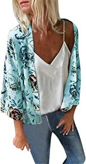 Summer Tops for Women 2019 Prime Tronet Women Loose Summer Floral Print Flare Sleeve 3/4 Sleeved Short Cardigan Tops