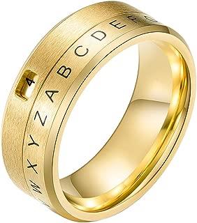 INRENG 8MM Men's Stainless Steel Alphabet Number Fidget Spinner Ring Decoder Design Silver, Black, Gold