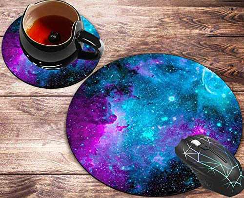 Round Mouse Pad and Coasters Set, Galaxy Blue Starry Sky Mousepad, Anti Slip Rubber Round Mousepads Desktop Notebook Mouse Mat for Working and Gaming