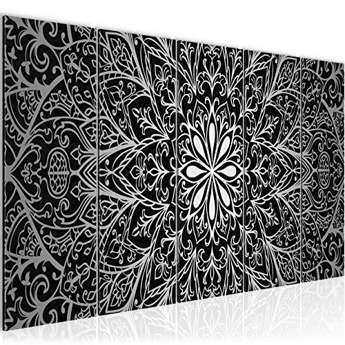 Runa Art Cuadro XXL Mandala Abstracto 200 x 80 cm Negro Blanco Gris 5 Piezas - Made in Germany - 107455c