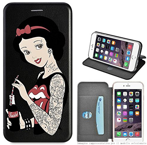 Mixroom - Custodia Cover Case a Libro con Stand in Ecopelle Parte Interna in TPU Morbida per iPhone 7 Plus Fantasia Biancaneve Tattoo LB06