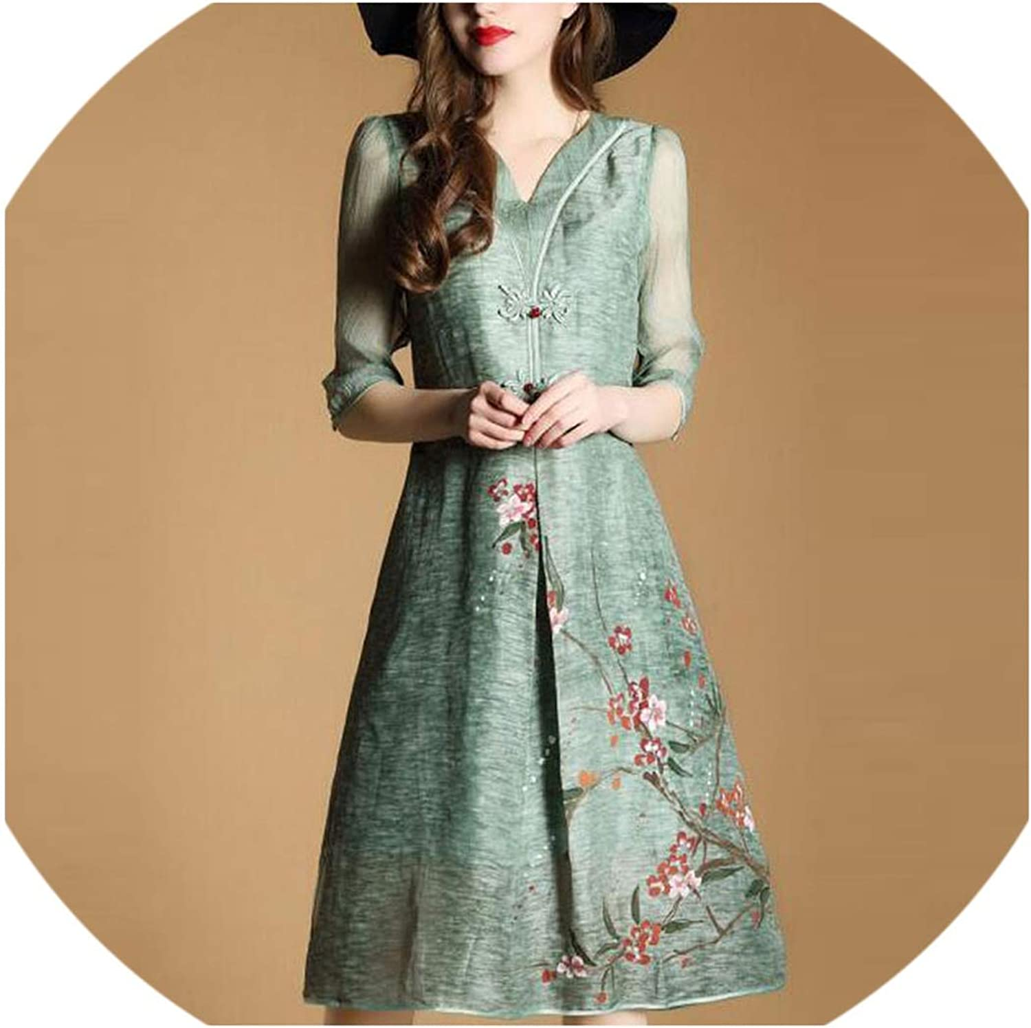 Dress for Women Plus Size Clothing 3XL Print Green Spring Summer,
