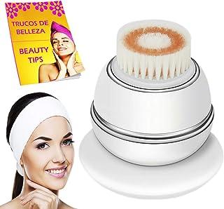 Limpiador facial electrico con diadema maquillaje y libro cepillo masajeador facial y limpieza facial profunda por vibracion ultrasonica con ondas de luz roja carga inalambrica impermeable IPX6 blanco