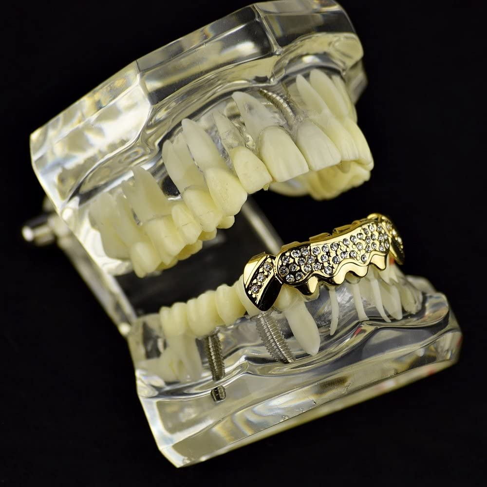 14k Gold Plated Bling Grillz Bottom Six Lower Teeth Iced Stone Cluster Hip Hop Grills