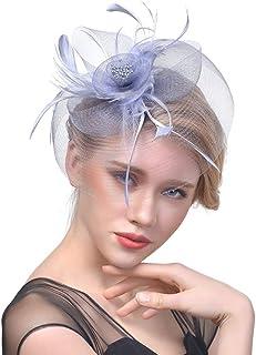 Fascinator Feather 20S Pillbox Hat Headdress,Handmade Headwear with Hair Clip Cocktail Tea Party Top Hat Derby Kentucky Wedding Headband for Women,Gray