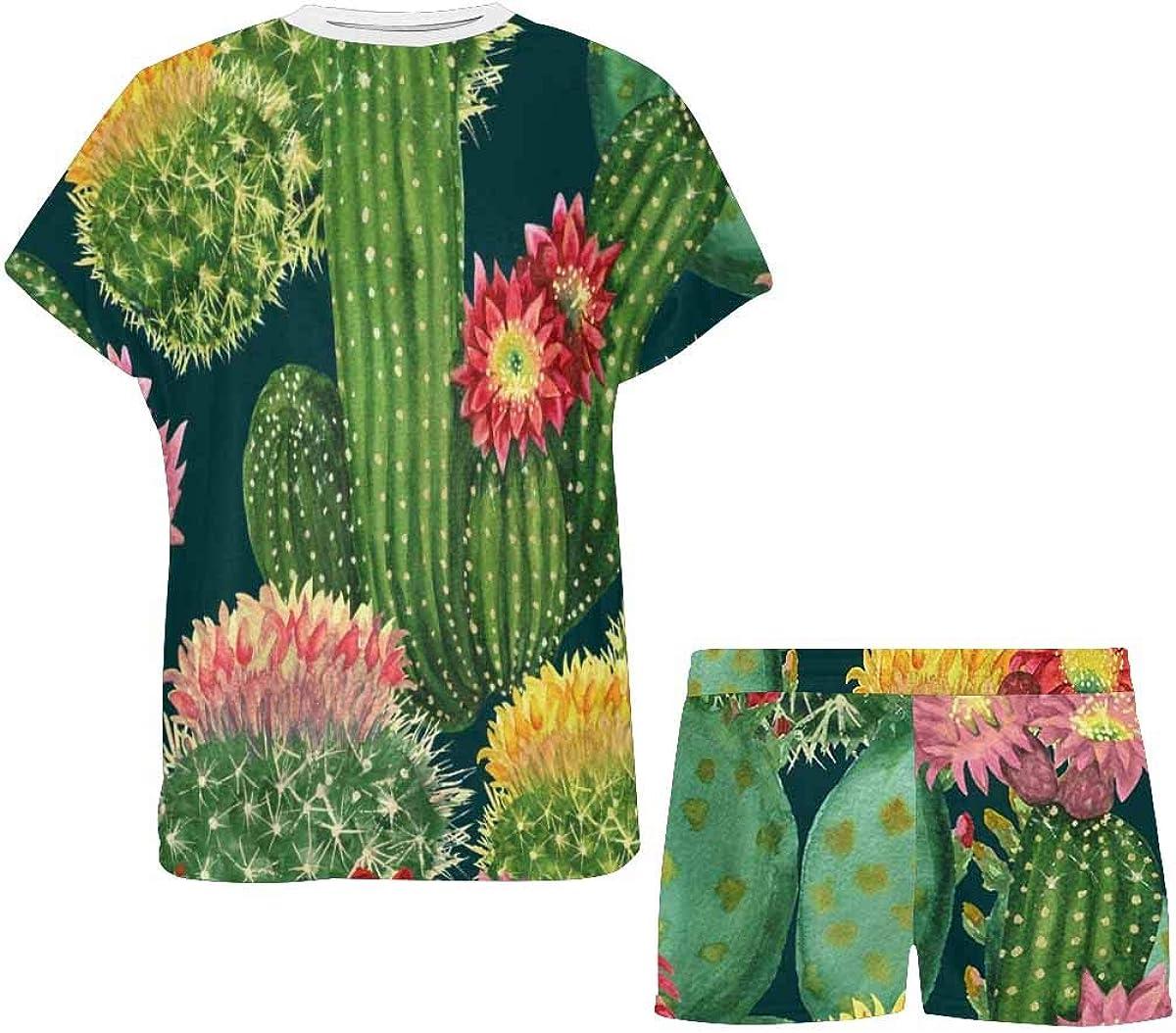 INTERESTPRINT Blooming Cactus on Dark Green Women Sleepwear Short Sleeves Pajama Sets