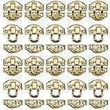 INCREWAY 20 paquete 29mmx26mm Antiguo Cerrojo de Gancho de Caja con Tornillos, Decorativo Cajón Gabinete Joyas Caja de Madera Caja Broche de Pecho Catch Lock Corchete, Oro