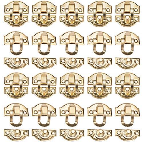 INCREWAY - Set di 20 chiavistelli da 29 mm x 26 mm, cassettiera, portagioie in legno, con chiusura a cerniera, colore: oro