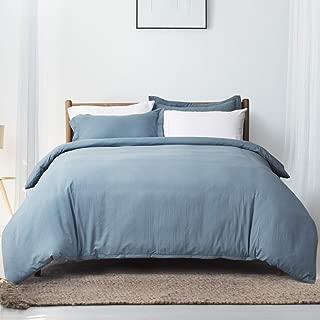 Bedsure Grayish Blue Duvet Cover Set Queen/Full Size Wrinkled Vintage Soft Duvet Cover with Zipper Microfiber Bedding Set