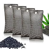 4 x Frischluftreinigungs-Beutel – natürliche Bambuskohle Deodorierbeutel für Kühlschrank, Küche, Schlafzimmer, Haustiere entfernt Gerüche, natürliche Aktivkohle hält die Luft frisch (75 g x 4)