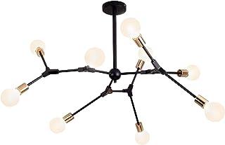 Lámpara de araña moderna lámpara de techo para comedor, habitación, salón, cocina, restaurante, bombilla no incluida, bombilla E27, 9 cabezales, color negro, 220 V