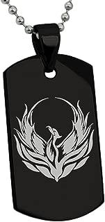 Stainless Steel Greek Mythology Phoenix Symbol Dog Tag Pendant Necklace
