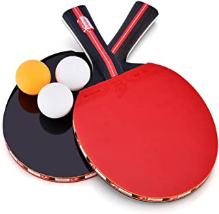 Dioche Ping Pong Paddles, Portable Professional 2-Player Table Tennis Racket Set with Carrying Bag and 3 Balls for Shake-Hand Grip Players (1 Pair)