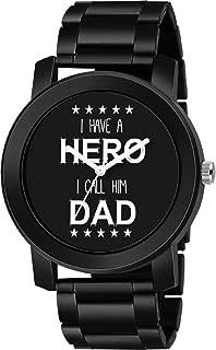 CERO Black Metal Strap Hero DAD Print Dial Casual Analog Watches for Men's & Boy's (C-108)