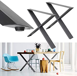 ECD Germany 2 Piece Table Frame X-Design - 72 x 60 cm - Powder-Coated Steel - Dark Gray - Industrial Design - Table Legs Set Table Runners Table Legs