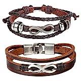 Cupimatch 2 pcs Bracelet Amour Infini Multi-Rangs,Rétro Fantaisie Bracelet Tressé...