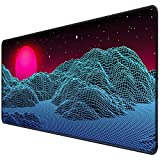 ITNRSIIET [35% Larger] Extended Gaming Mouse Pad with Stitched Edges XXL Mousepad 35.4x15.7 in Non-Slip Rubber Base Waterproof Keyboard Pad Mouse Mat for Work Office Home, Red Sun Rising