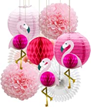 Tropical Pink Flamingo Party Honeycomb Decoration, Pom Poms Paper Flowers Tissue Paper Fan Paper Lanterns for Hawaiian Summer Beach Luau Party