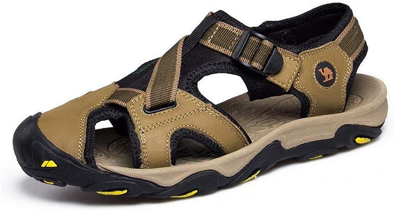 Men's Sandals, Men's Beach Breath Genuine Leather Sandals, Outdoor Cowhide Korean Summer Personality Trend, Baotou Sport shoes, (color  One, Size  40) (color   B, Size   UK 6.5)
