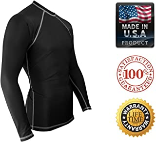 Rash Guard For Men ? USA MADE Compression Workout & UV Sun Protection Shirt (Black - White Stitching Small)