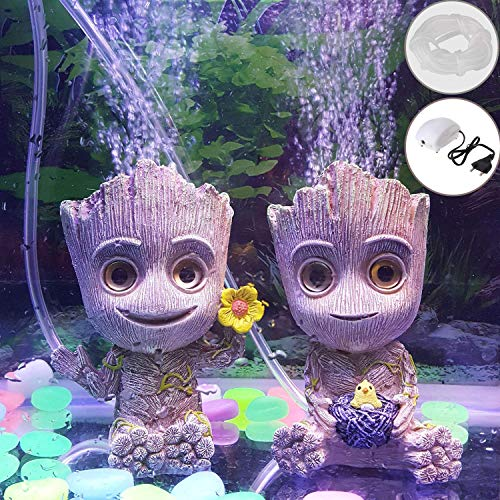 Leegicst Aquarium Bubble Aquarium Nette Mini Baby Groot Baum Mann Aquarium Sauerstoff Stein Sauerstoff Pumpe Fisch Aquarium Dekor Aquarium Fish Tank Bubble Dekoration
