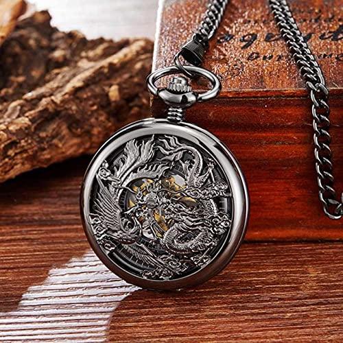 SSJIA Reloj de Bolsillo mecánico Dragon Ball Flip Reloj con Cadena para Hombres Mujeres-Bronce