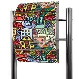 Banjado Briefkasten Edelstahl mit Ständer   Postkasten freistehend 126x53x17cm   Standbriefkasten mit Zeitungsfach und Namensschild Motiv Funky...