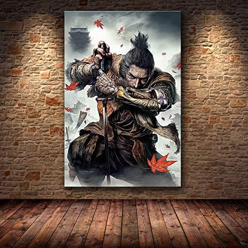 mmzki Samurai Pintura al óleo HD Lienzo Lienzo Pintura Arte Cartel Pintura Decorativa